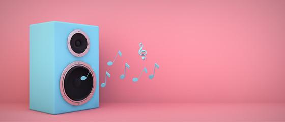 blue speaker pink background Fotobehang