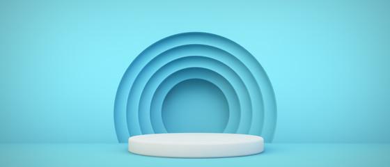 blue podium with circles background