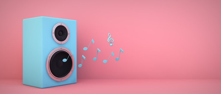 blue speaker pink background