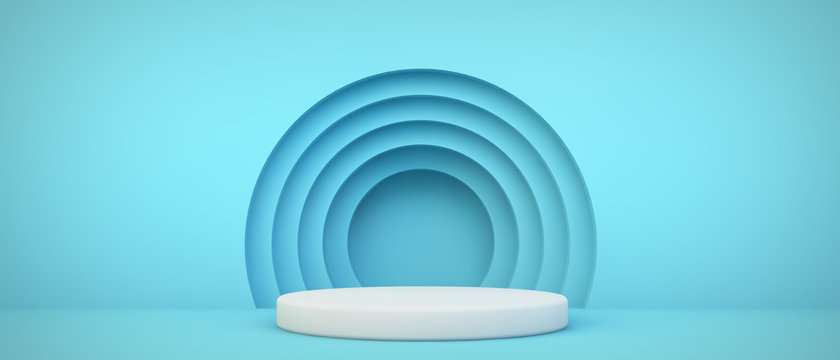 blue podium with circles background