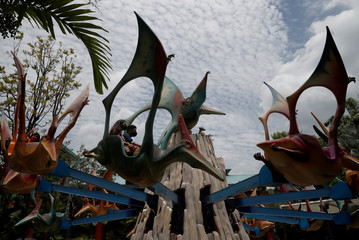 People enjoy a theme park ride at the Universal Studios in Sentosa, as tourism takes a decline following the coronavirus outbreak in Singapore