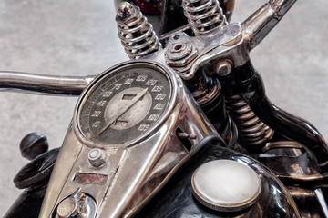 Tank and speedometer of a vintage motorcycle