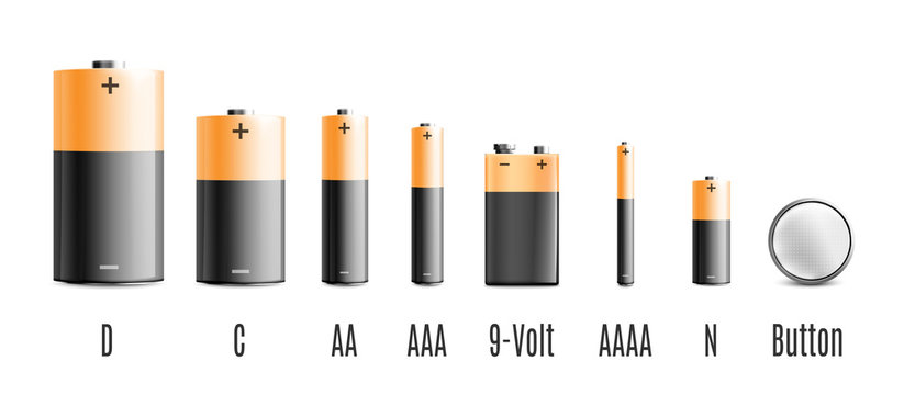 Realistic battery set with different energy voltage and size