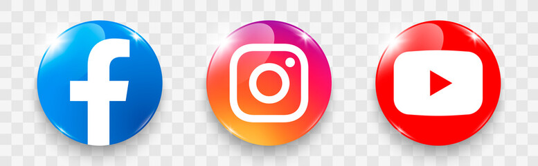 Popular social media logo on a transparent background. Social media glass icons: facebook, instagram, youtube
