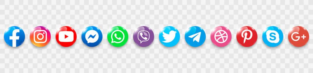 Collection of popular social media logo on a transparent background. Social media glass icons: facebook, instagram, youtube, twitter, viber, whatsapp, skype, telegram, pinterest, google