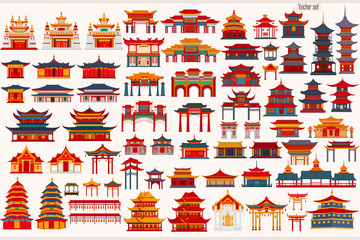 Fototapeta Set of Chinese temples, gates and traditional buildings on a light gray background obraz