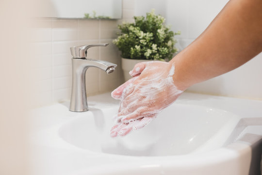 Hand washing with water and soap, clean and protection from dirty, virus, bacteria