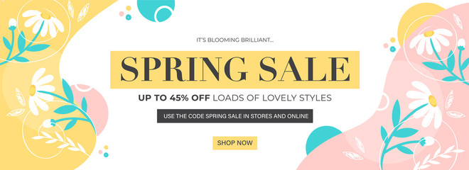 UP TO 45% Off for Spring Sale Header or Banner Design Decorated with Daisy Flowers and Leaves.