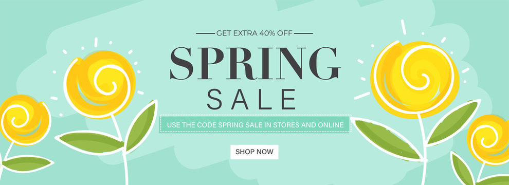 Spring Sale Header or Banner Design with Get Extra 40% Off and Yellow Flowers on Pastel Turquoise Background.