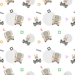 Baby pattern with animals drive a car and geometric shape in the white backdrop
