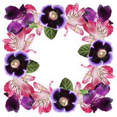 Wall Mural - Beautiful floral pattern of alstroemeria and gloxinia. Isolated