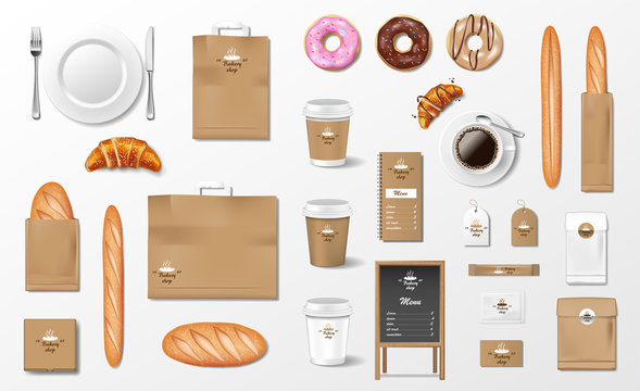 Mockup for Bakery shop, Cafe, restaurant Brand identity. Realistic Bakery package mockup cup, pack, baguette, croissant, paper bag, baked bread and loaf isolated. Vector
