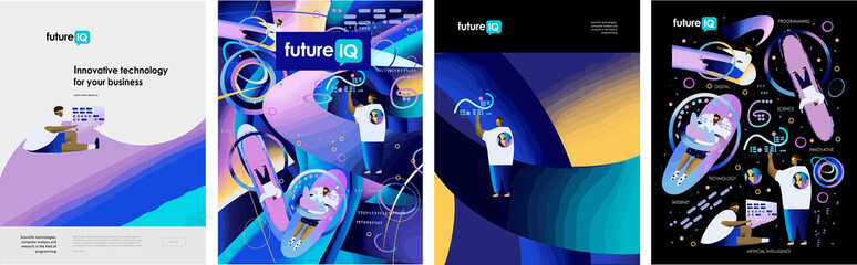 Science fiction.Innovate future technology for business! Set of posters businessmen work artificial intelligence, man use neural networks, people virtual communications. Vector illustration for poster