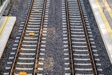 Empty railway tracks, high-speed train tracks, view from above