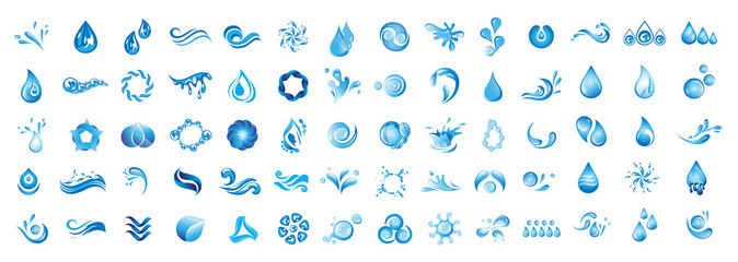Water Splash Vector And Drop Logo Set - Isolated On White Background. Vector Collection Of Flat Water Splash and Drop Logo. Icons For Droplet, Wave, Rain, Raindrop, Company Logo And Bubble Design