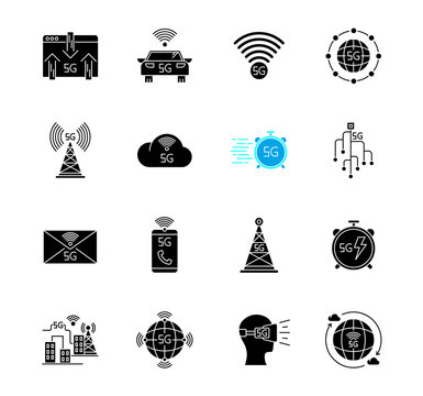 5G technology black glyph icons set on white space. Mobile cellular network. Fast Internet connection. Messaging, data exchange. World standard. Silhouette symbols. Vector isolated illustration