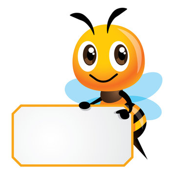 Cartoon cute happy bee is holding a white empty signboard with yellow stripe - vector character