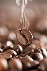 Flying coffee bean recently roasted