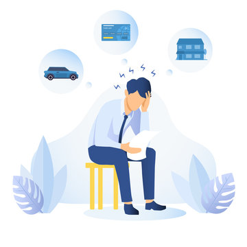 Man with financial and debt problems sitting on a stool with paperwork with his head on his hand surrounded by icons depicting his assets, colored vector illustration