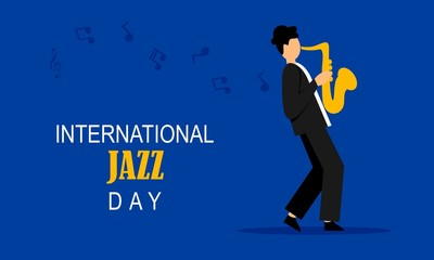 Door stickers Wall Decor With Your Own Photos Flat international jazz day background vector