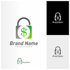 Money lock logo vector template. Lock with money logo design concept. Icon symbol