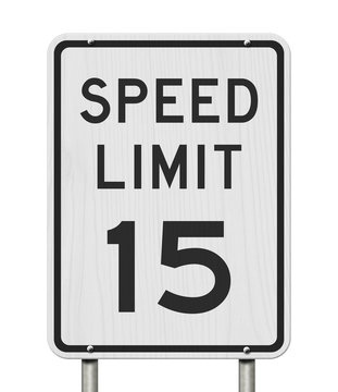 US 15 mph Speed Limit sign