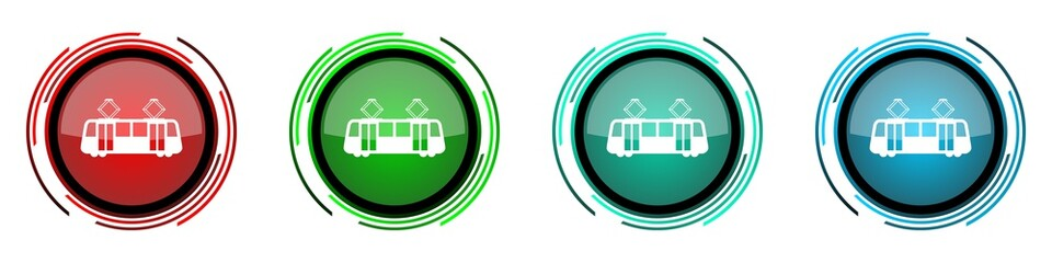 Fotomurales - Tram round glossy vector icons, set of buttons for webdesign, internet and mobile phone applications in four colors options isolated on white background
