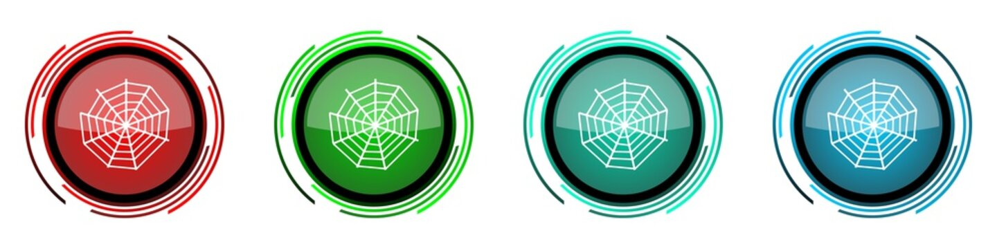 Spider web round glossy vector icons, set of buttons for webdesign, internet and mobile phone applications in four colors options isolated on white background