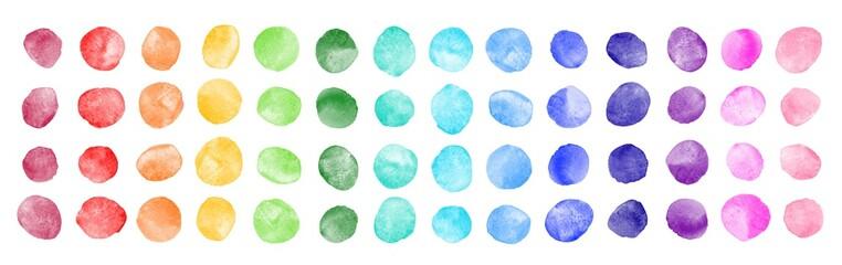 Watercolor circle shape stains, smears, strokes collection. Colorful watercolour round paint spots set, uneven dots illustration, design elements. Brush drawn dot pattern,  background. Rainbow colors.
