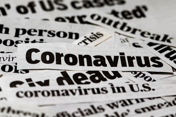 Coronavirus, covid-19 newspaper headline clippings. Print media information isolated Wall mural