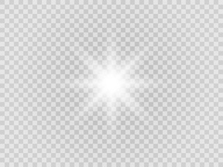 Vector png glowing light effect. Shine, glare, flare, flash illustration. White star on transparent