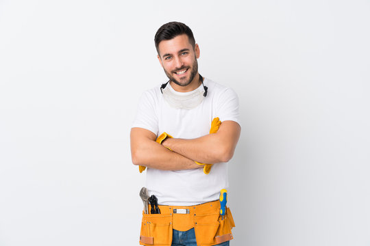 Craftsmen or electrician man over isolated white background laughing