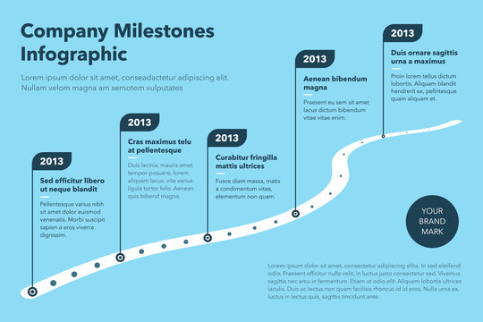 Modern business infographic for curved road map timeline template with pointers - blue version. Easy to use for your website or presentation.