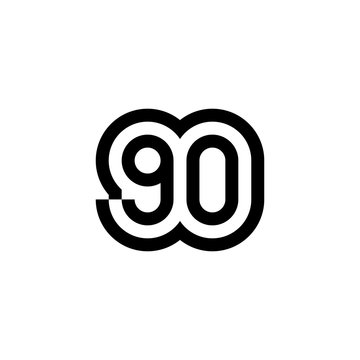 Number 90 vector icon design
