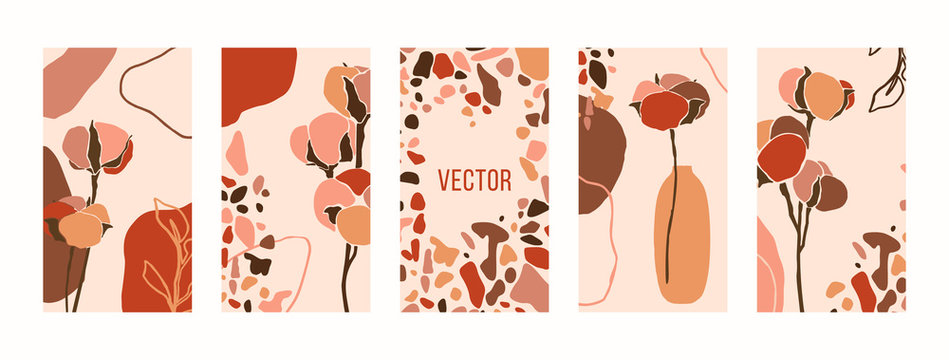 Set Backgrounds with cotton flowers and terrazzo mosaic. Mobile Wallpapers templates for social media stories. Vector
