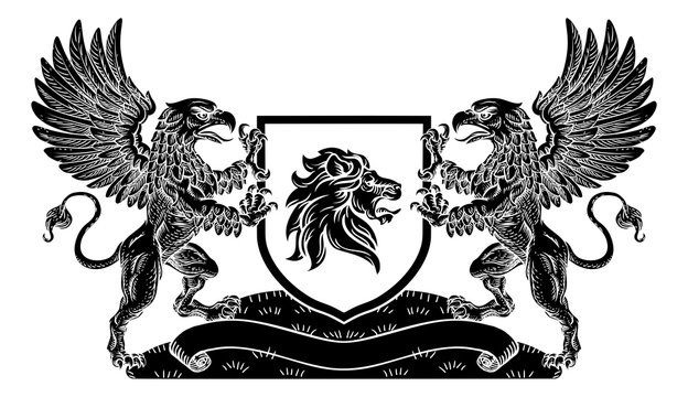 A crest coat of arms family shield seal featuring two griffins or griffons and lion