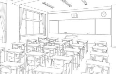 Fototapeta 教室 学校 漫画風背景素材 obraz