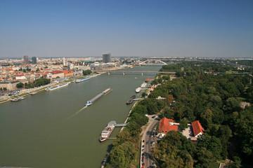 Printed kitchen splashbacks Khaki Landscape of Danube river and Bratislava - capital city of Slovakia