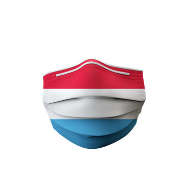 Luxembourg flag protective medical mask. 3D Rendering