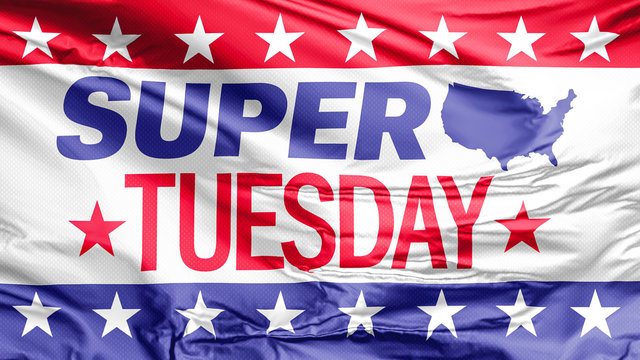 A Super Tuesday waving flag