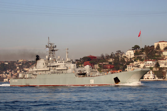 The Russian Navy's large landing ship Caesar Kunikov sets sail in Istanbul's Bosphorus