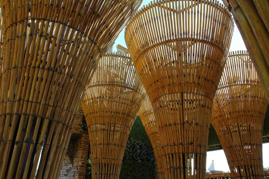 Wooden ceiling with woven straw