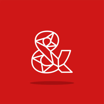 Vector Logo Lines Red White Ampersand