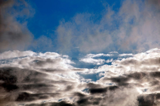 Serene Floating Cloudscape Blue Sky