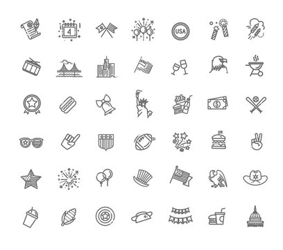 4th of July, independence day icons