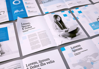 Multipurpose Brochure Layout with Blue Squares