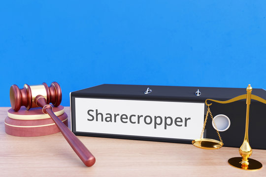 Sharecropper – File Folder with labeling, gavel and libra – law, judgement, lawyer