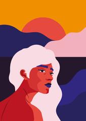 Frau mit Sonnenuntergang