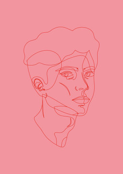 Boy pink red outlines