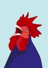 Hahn rot blau